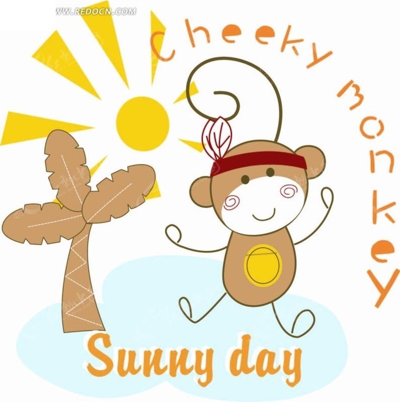 卡通动物插画-小蜜蜂和椰子树和太阳矢量图_印花图案