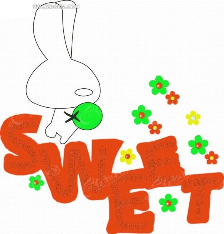 卡通动物插画-花朵和小白兔