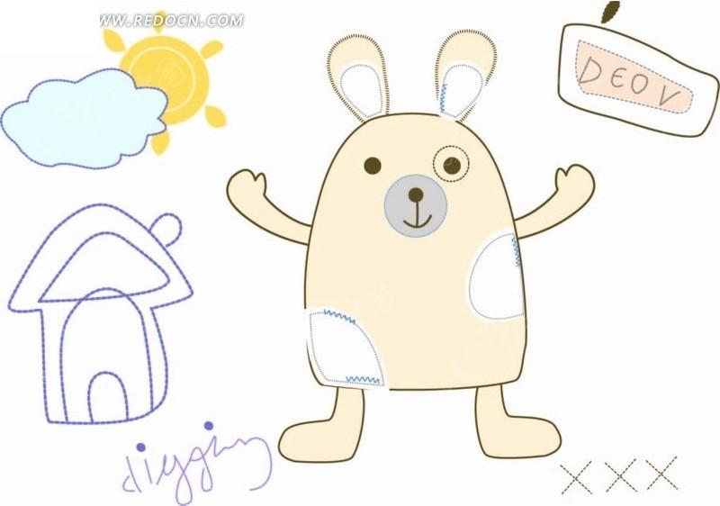 手绘插画卡通兔子