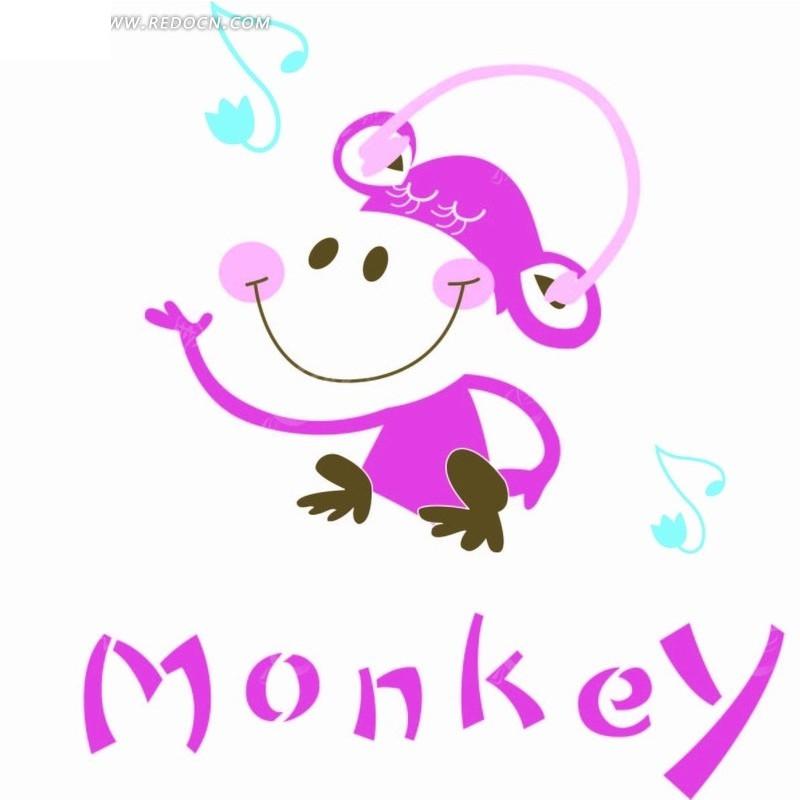 卡通动物插画-听音乐的小猴子