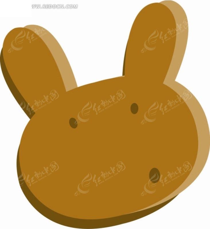 卡通动物插画-小白兔头像矢量图