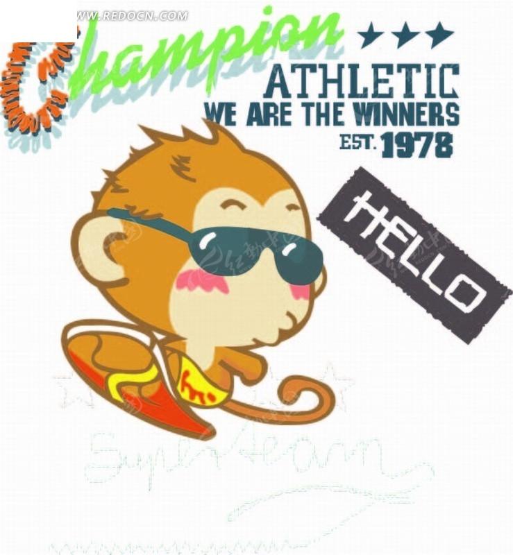 卡通动物插画-戴墨镜的小弥猴