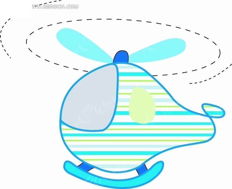 卡通矢量插画-直升飞机和虚线矢量图
