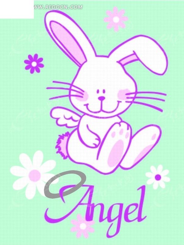 卡通动物插画-花朵和坐着的小兔子