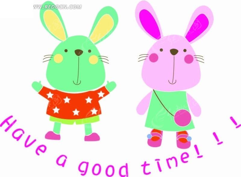 卡通动物插画-两只可爱的小兔子矢量图