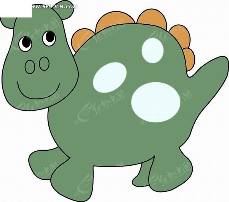 卡通动物 绿色的可爱恐龙矢量图