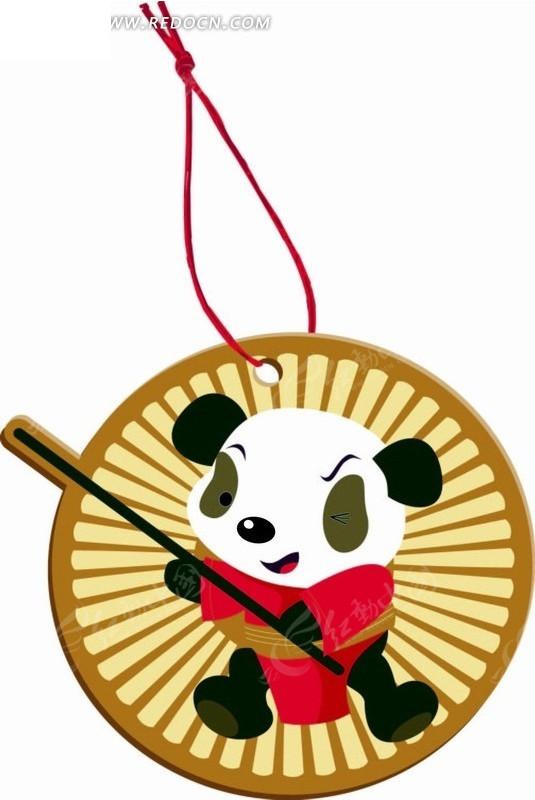 卡通画 圆盘内的功夫熊猫