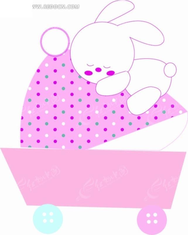 卡通动物插画-趴在车上睡觉的小白兔