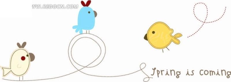 卡通动物插画-站在虚线上的小鸟