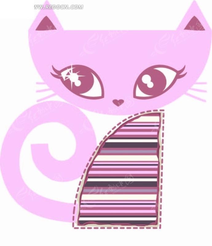 卡通动物插画-粉红线条的猫