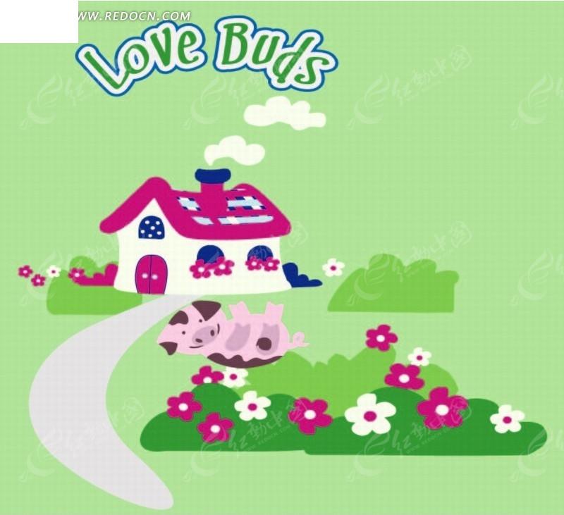 卡通动物插画-躺在草地上的小猪矢量图_印花图案