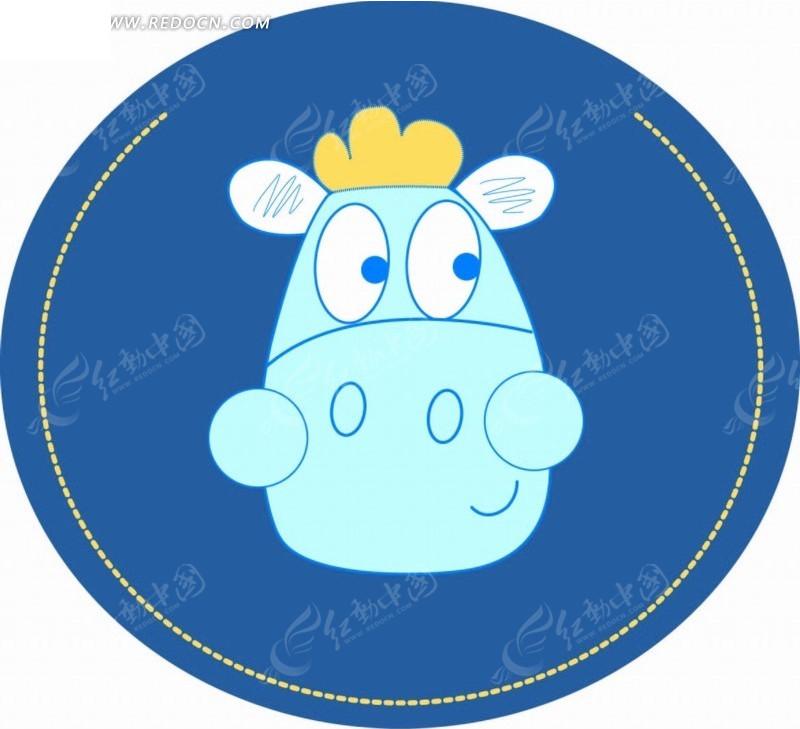 蓝色圆形 河马 虚线 手绘 卡通 卡通动物 漫画 漫画动物 印花图案