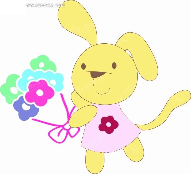 插画 拿花朵的小白兔矢量图 印花图案