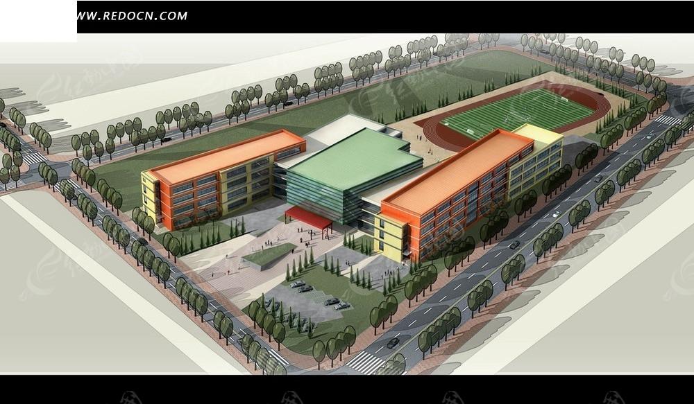 学校效果图 学校建筑和操场俯瞰图psd素材高清图片