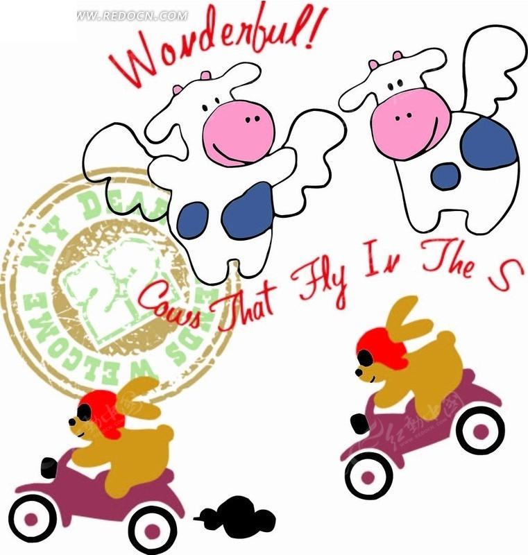 卡通动物插画-骑摩托车的小白兔和会飞的河马