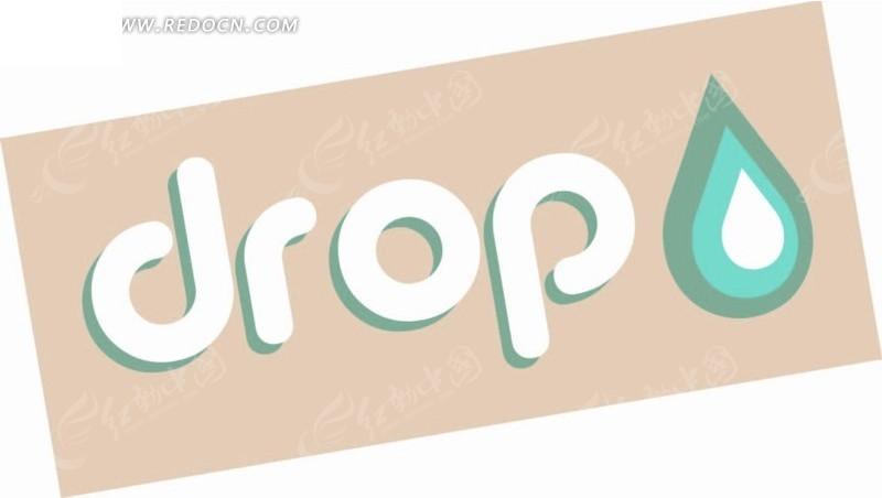 卡通动物插画-咖啡色长方形的英文字母和水滴