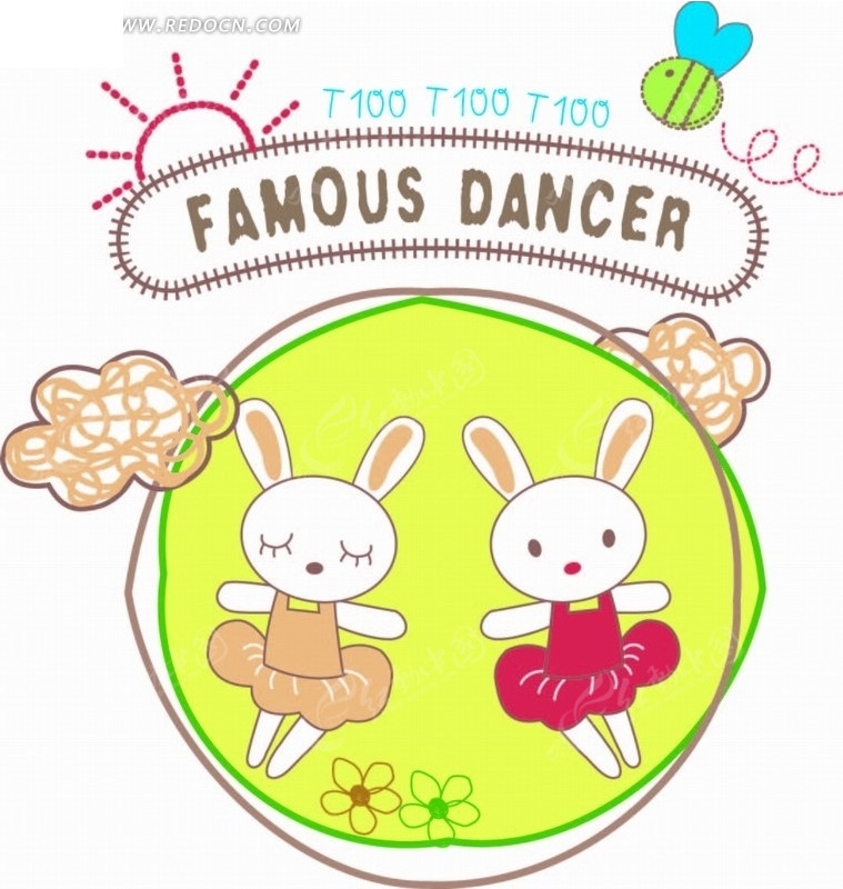 卡通动物插画-圆形里的小白兔
