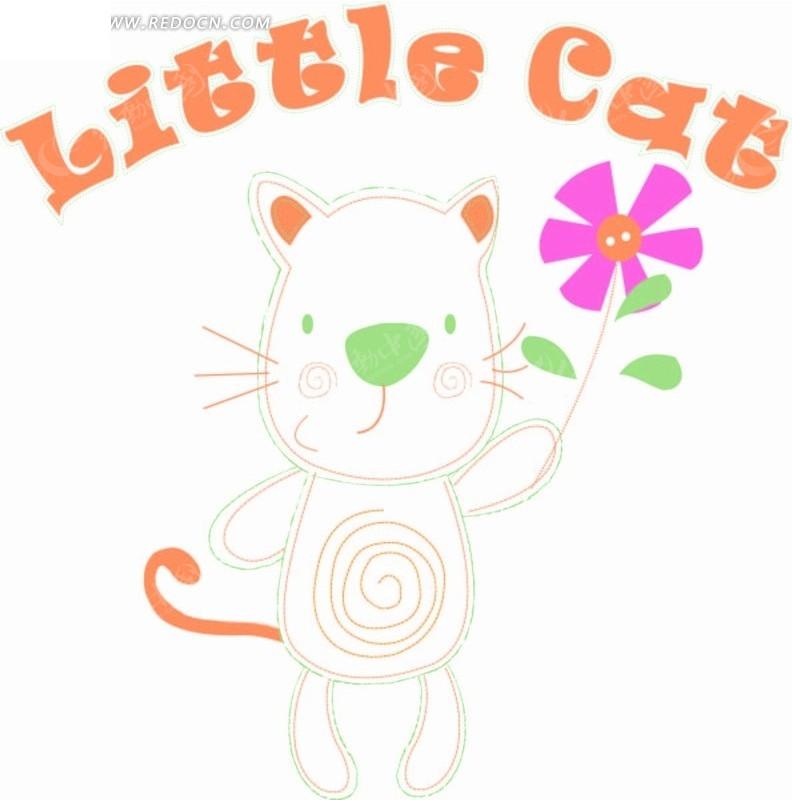 卡通动物插画-拿着花朵的小猫