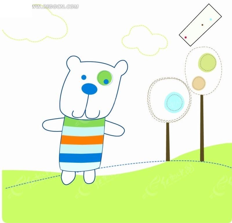 草地 小熊 树 虚线 手绘 插画 卡通 卡通动物 漫画 漫画动物 印花图案