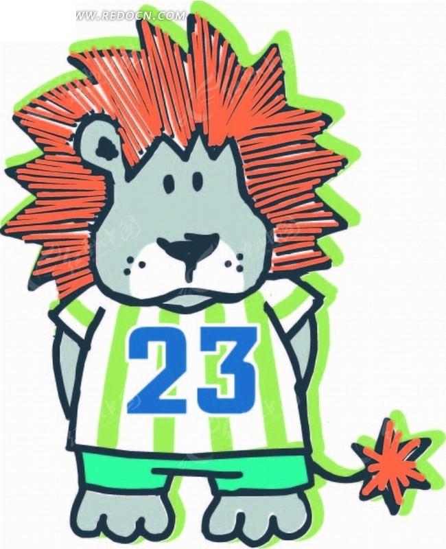 卡通动物插画-描绿边的狮子