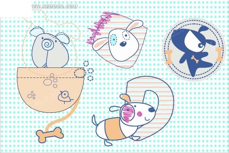 骨头 小熊 手绘 插画 卡通 卡通动物 漫画 漫画动物 印花图案 矢量