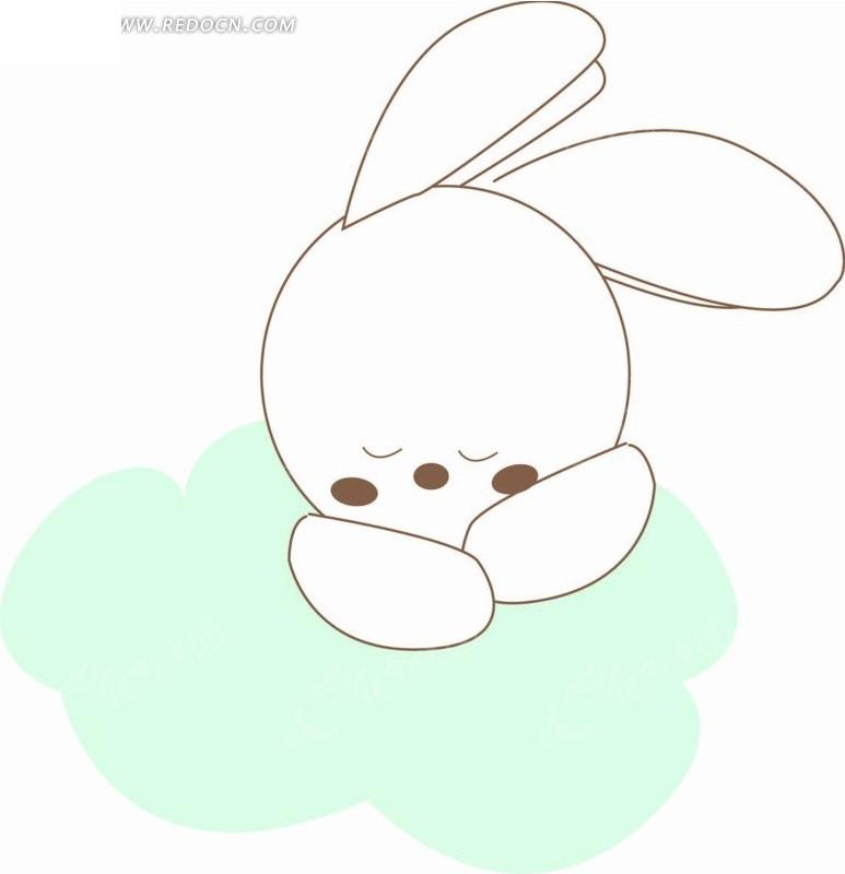 卡通动物插画-睡在白云上的小白兔图片