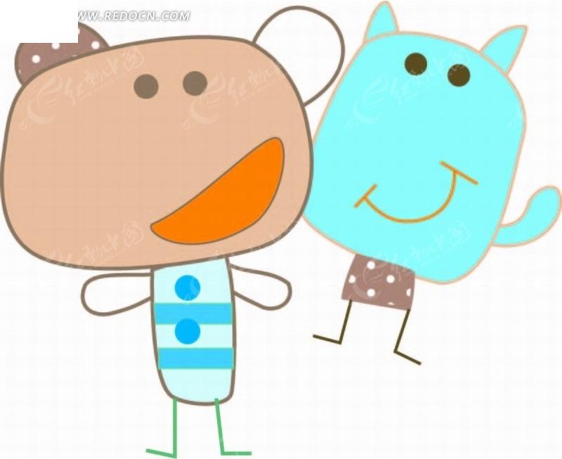 卡通动物插画 小熊和小河马AI素材免费下载 编号2043427 红动网