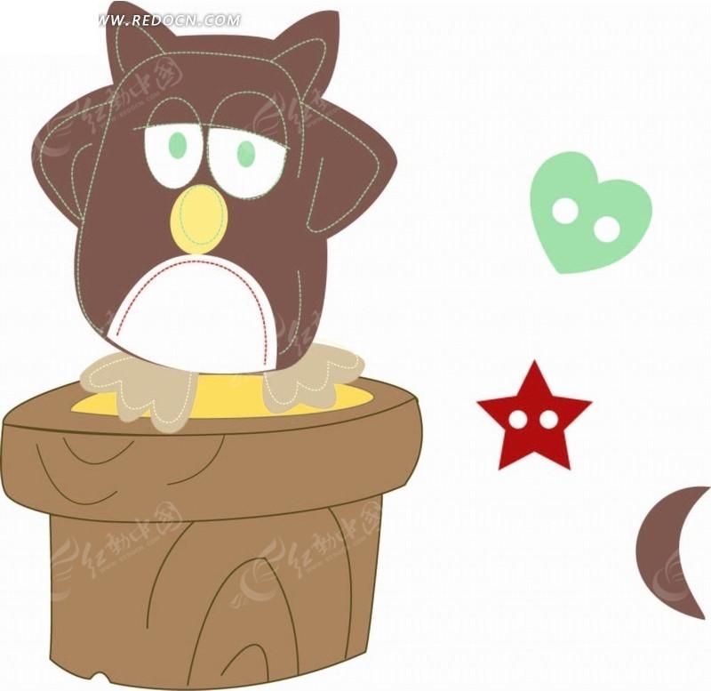 卡通动物插画-木桩上的猫头鹰