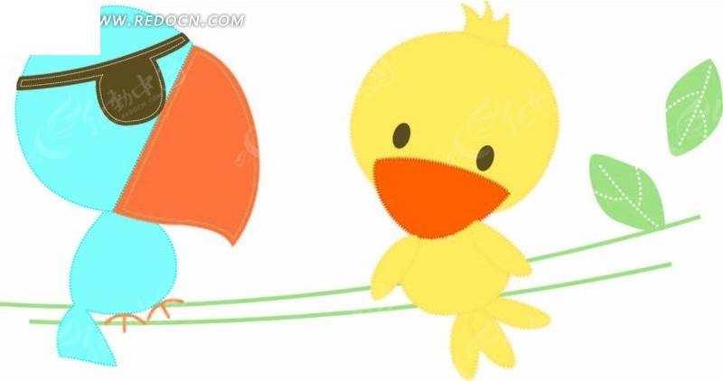 细枝 小鸟 鹦鹉 绿叶 线条 手绘 插画 卡通 卡通动物 漫画 漫画动物