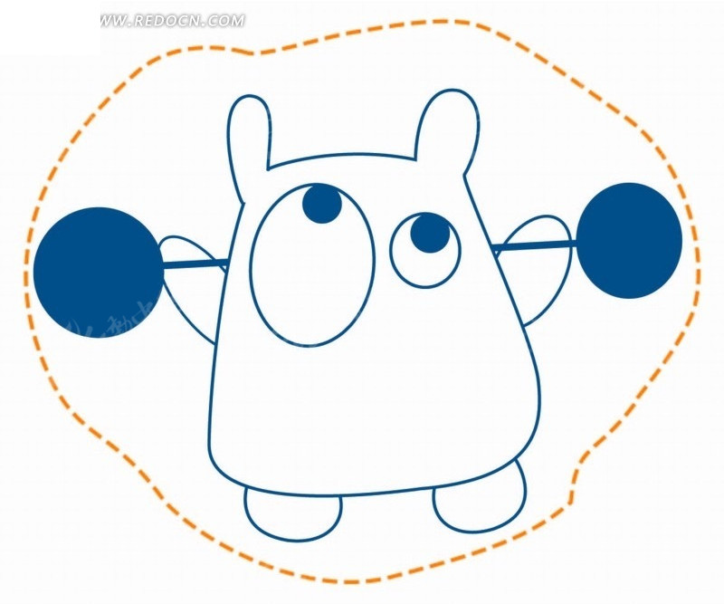 卡通动物插画-虚线框里举杠铃的河马