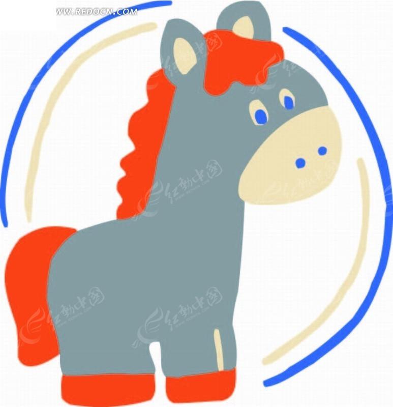 蓝色圆环 小驴 手绘 插画 卡通 卡通动物 漫画 漫画动物 印花图案