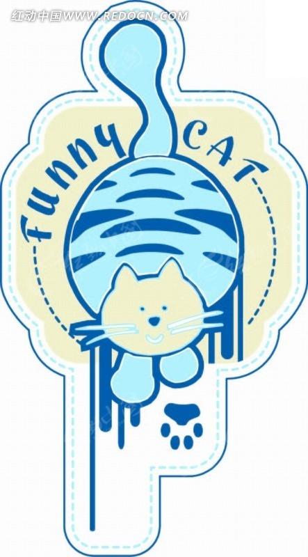 不规则图形 猫 虚线 图形标识 手绘 卡通 卡通动物 漫画 漫画动物
