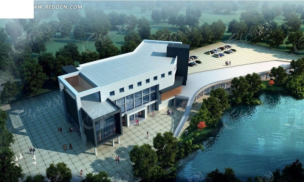 湖边的银色建筑俯瞰图psd素材高清图片