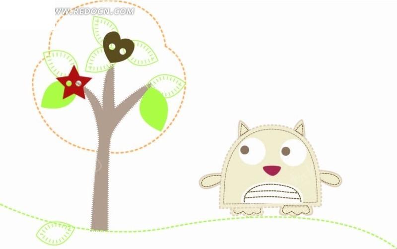 卡通动物插画-猫头鹰和树