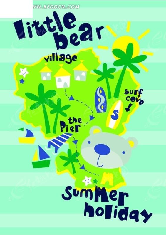 卡通动物插画-小熊和椰子树和房屋