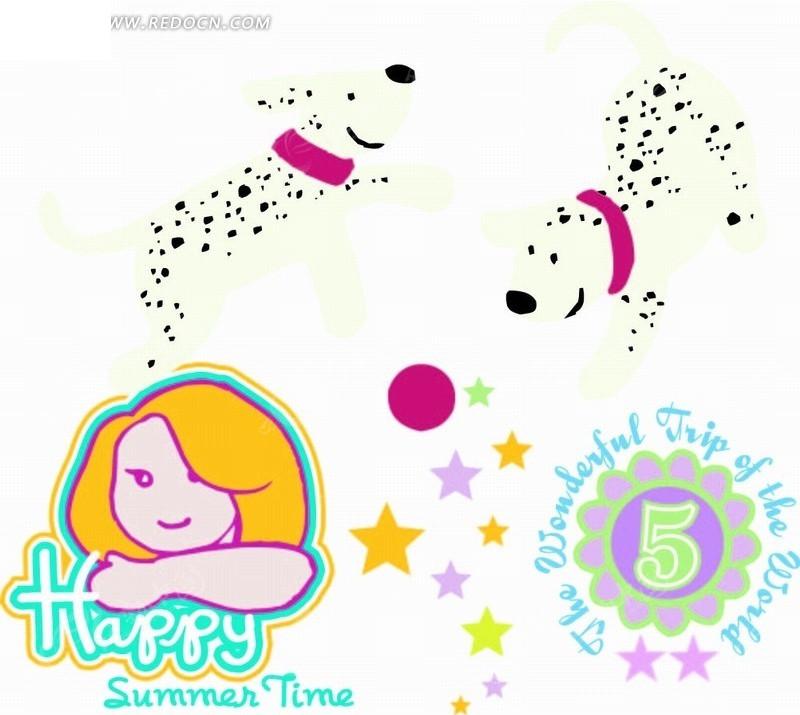 黑色点狗 小女孩 五角星 图形标识 手绘 插画 卡通 卡通动物 漫画