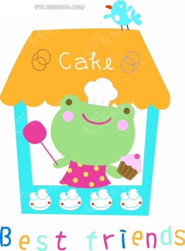 卡通动物插画-房屋拿棒棒糖的青蛙