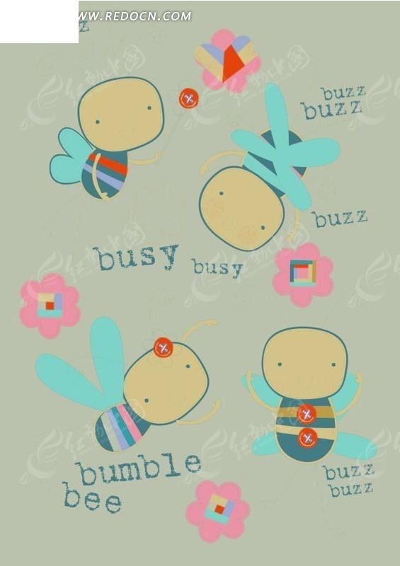 卡通动物插画-各种姿势的小蜜蜂