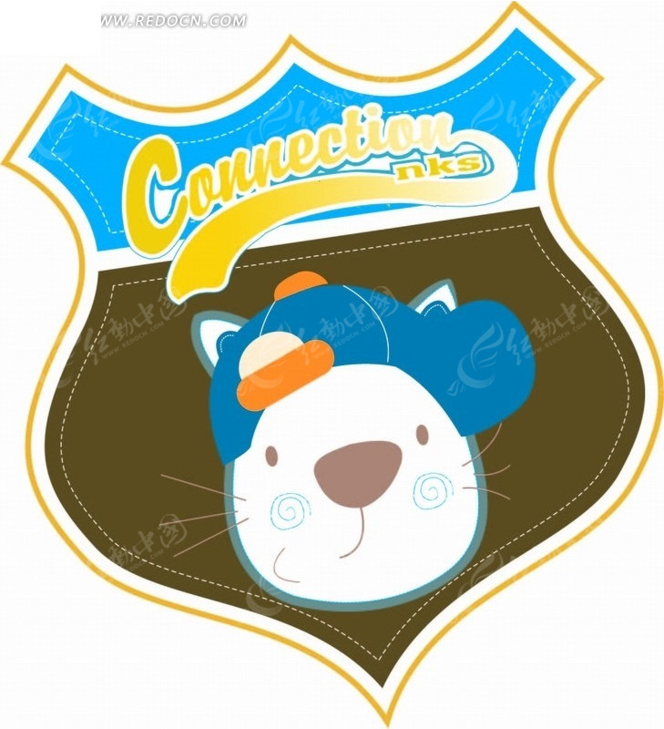 盾牌 帽子 猫 虚线 英文字母 手绘 插画 卡通 卡通动物 漫画 漫画动物
