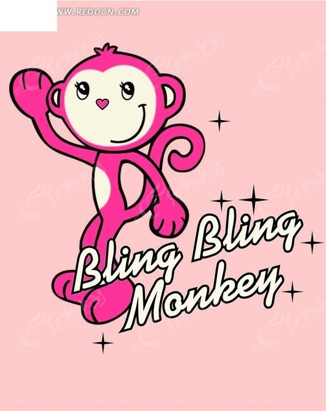 卡通动物插画-红色小猴子
