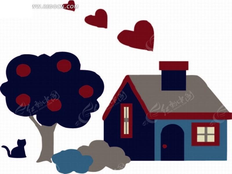 卡通动物插画-苹果树下的猫和房屋