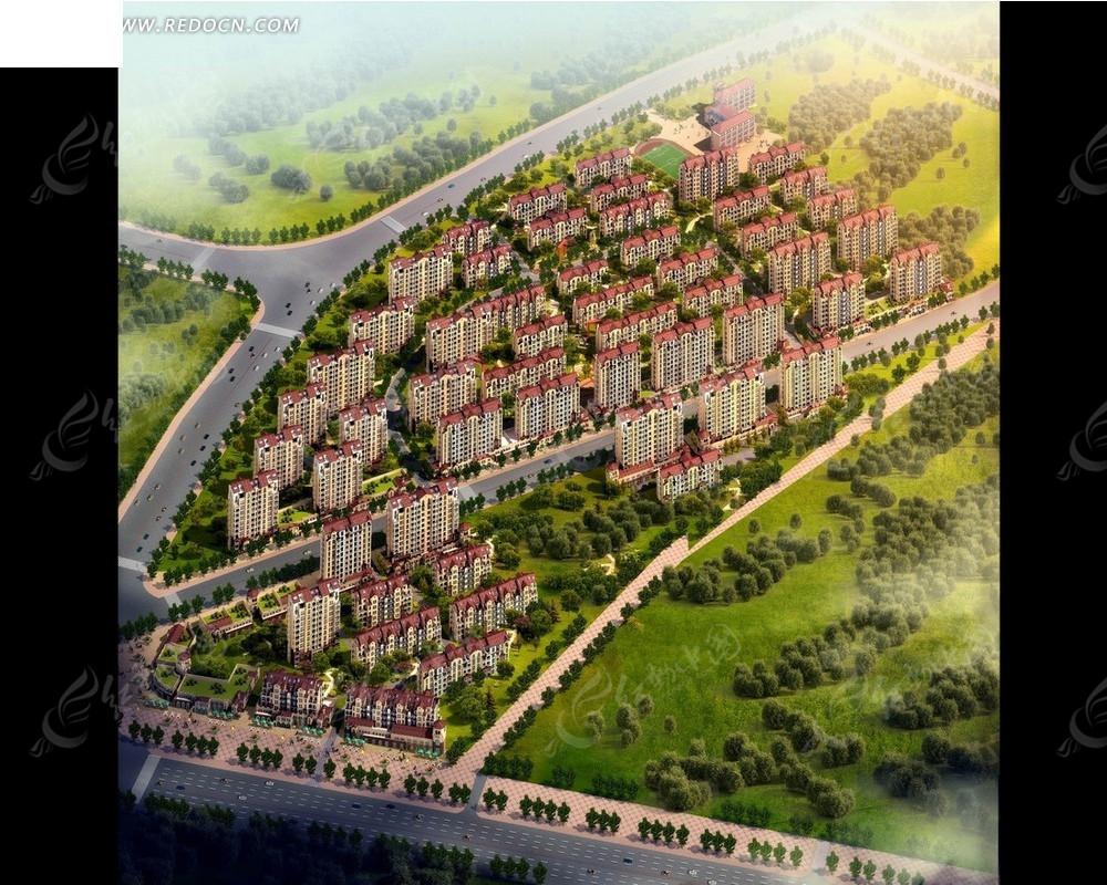 路绿化和居民区俯瞰图psd素材高清图片