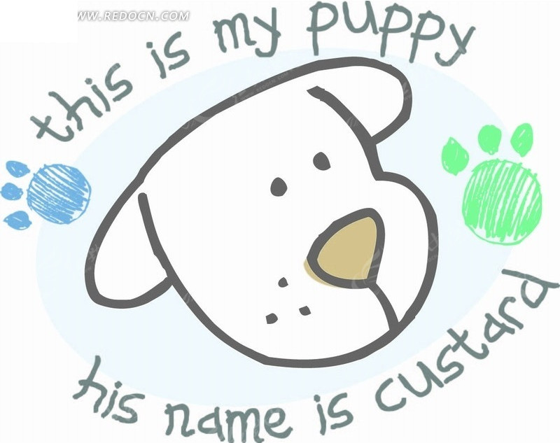 卡通画 抽象线稿小狗和狗脚印AI素材免费下载 编号2044049 红动网