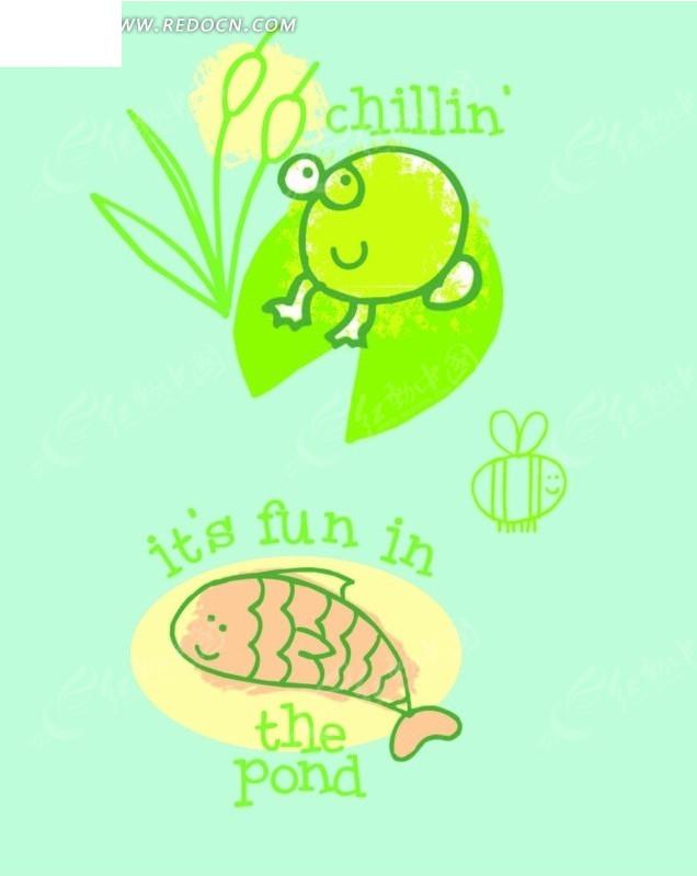 荷叶上的青蛙和晒太阳的小鱼矢量图 印花图案