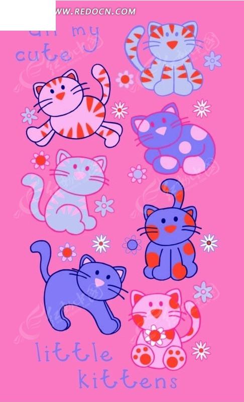 卡通动物插画-各种姿势的猫