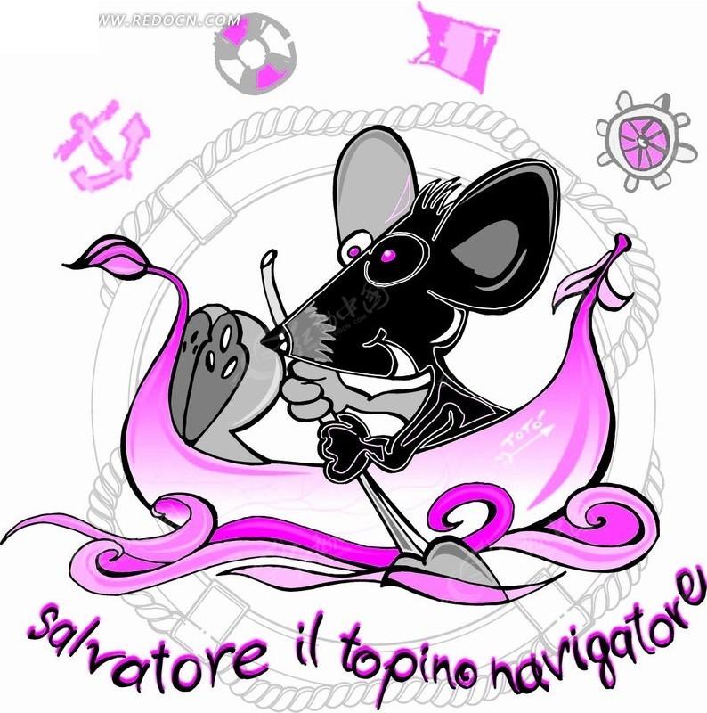 矢量卡通插画-划船的老鼠