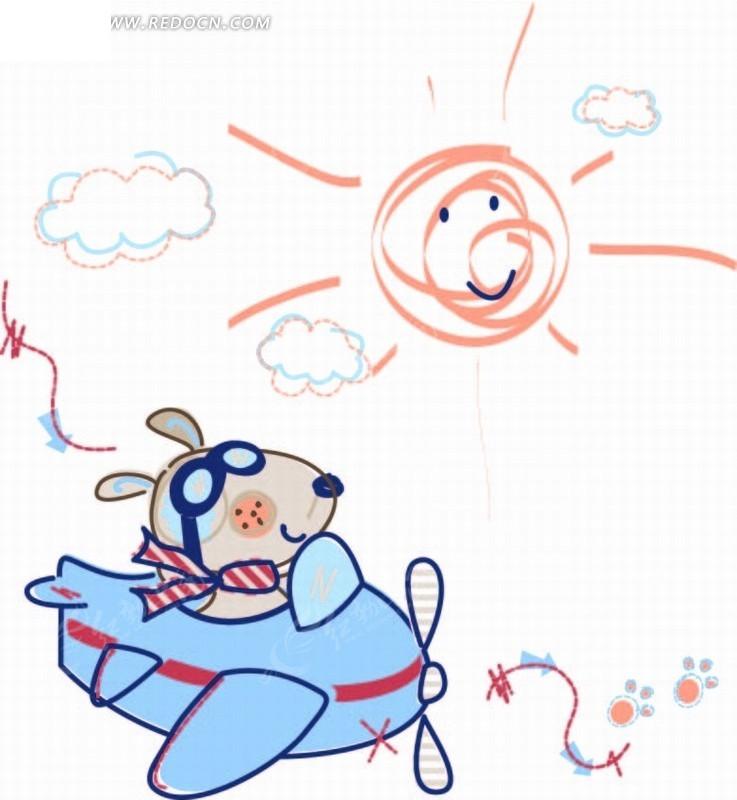 矢量卡通插画-太阳和坐直升飞机的小熊