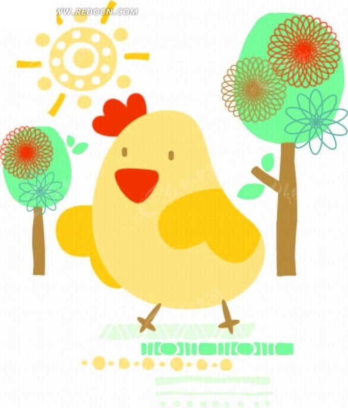 卡通动物插画 小鸡太阳树矢量图 印花图案