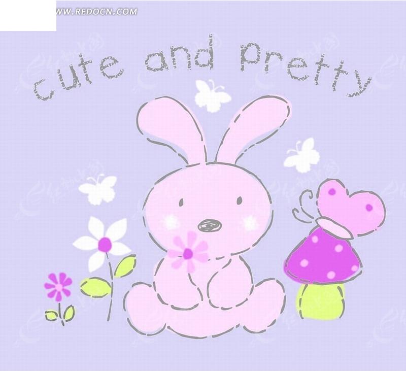 卡通动物插画-拿花的小白兔和蝴蝶磨菇