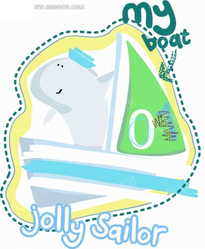 免费素材 矢量素材 花纹边框 印花图案 > 矢量卡通插画-鲸鱼和帆船
